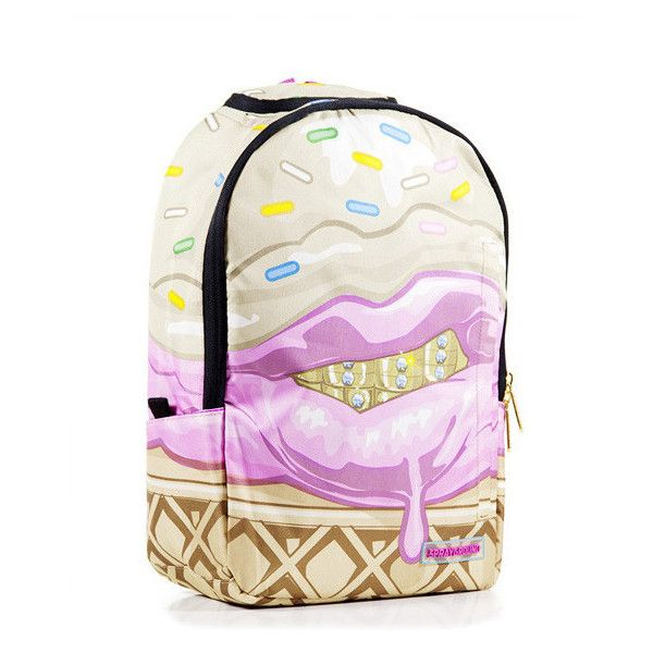 Sprayground Ice Cream Grillz Backpack ❤ liked on Polyvore featuring bags, backpacks, backpack bags, cream backpack, pocket backpack, day pack rucksack and white backpack