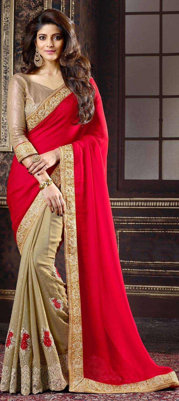 Beige and Brown, Red and Maroon color family Embroidered Sarees, Party Wear Saree