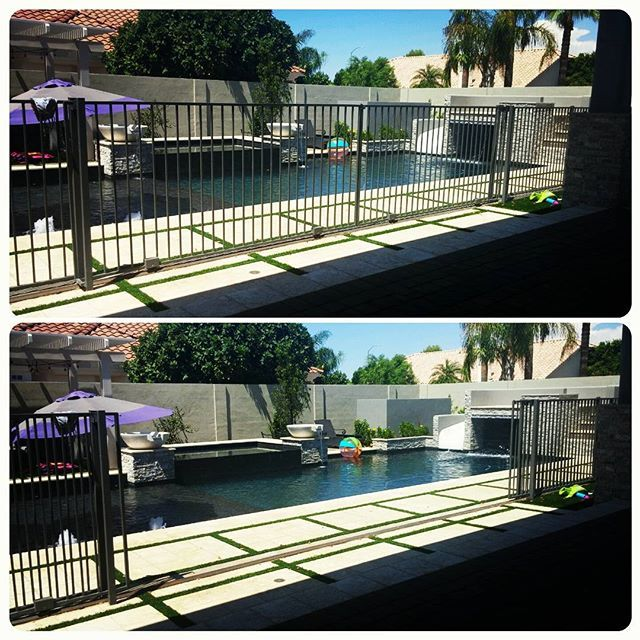The dilemma...I needed a pool fence to protect my little non swimmers but I really, really didn't want one for aesthetics and function. Solution for me was a double rolling gate. One of the best features of the whole project. Family parties are easy to open it up. Safety is priority with a simple padlock all other times. Proud to claim this idea and happy others are using it too. #poolsafety #arizonapool #azrealestate