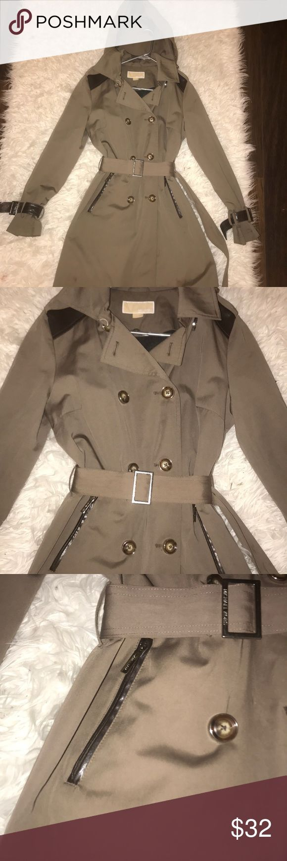 Michael Kors Trench Coat Beautiful Michael Kors taupe/brown Trench Coat Size medium but MK has big sizes Pockets have leather lining Michael Kors Jackets & Coats Trench Coats