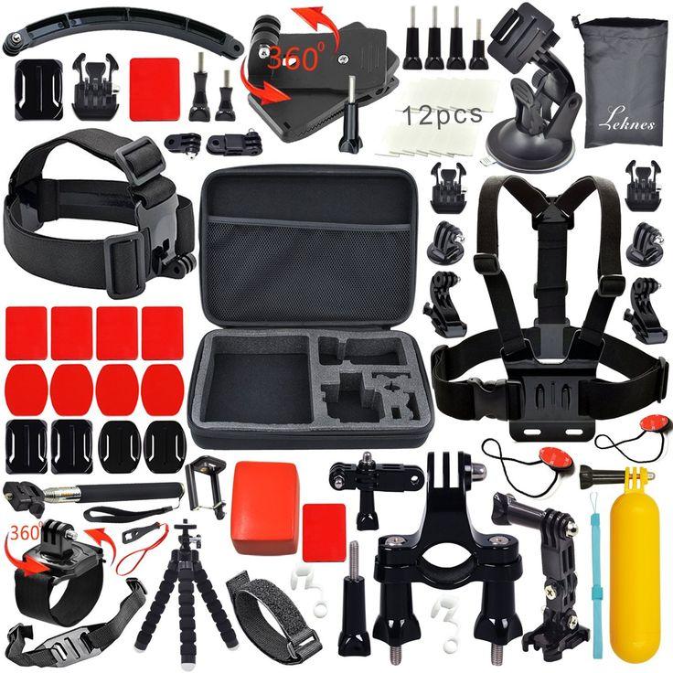 Leknes Lot de 52 accessoires professionnels pour GoPro Hero4 /3,gopro3/2/1, Extrêmes Mécaniques Accessories pour GoPro Hero4 Hero3+ Hero3 Hero2 Noire /Argent Sports Aquatiques Extrêmes Mécaniques Accessory Set for GoPro Hero 4 3+ 3 2 1 Black Silver Kit de Caméra Accessoires pour GoPro 4 3+ 3 2 1 SJ4000 SJ5000: Amazon.fr: High-tech