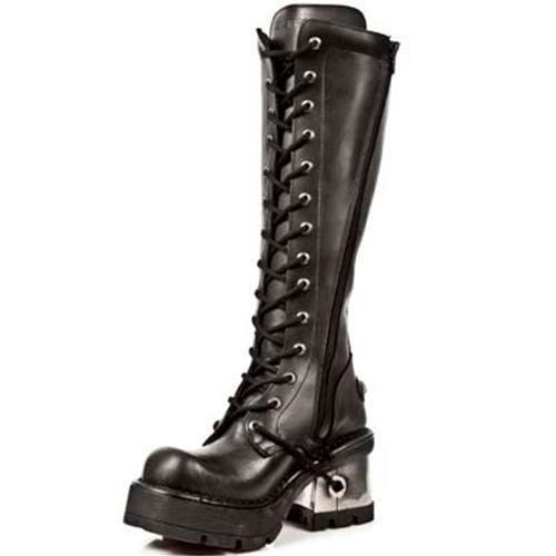 M.236-S1 Gothic Metal hoge laars met hak en plateau zwart