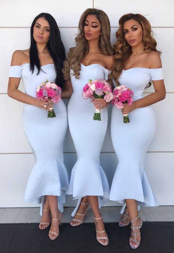 Elegant Baby Blue Off The Shoulder Mermaid Bridesmaids Mermaid Bridesmaid Dresses Blue Bridesmaid Dresses Short Cheap Wedding Guest Dresses