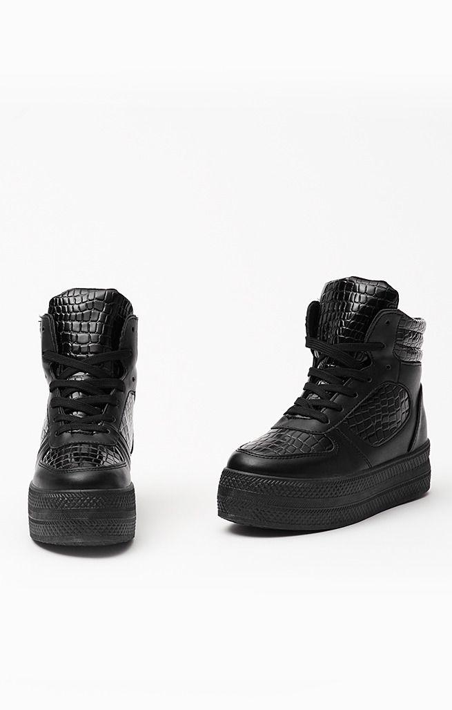 Czarne Oryginalne Sneakersy gruba podeszwa