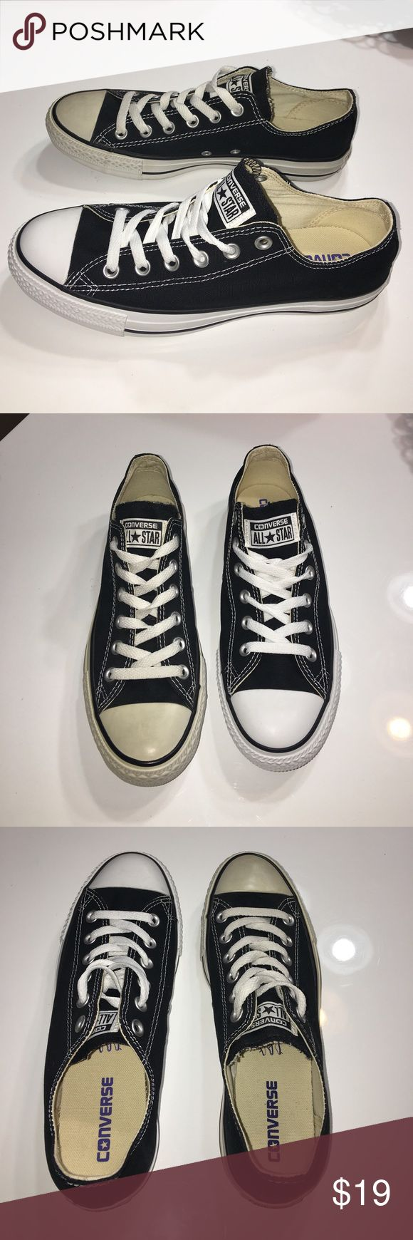 New Defect Converse black sneakers tennis shoes 9 New with Defect authentic Converse black sneakers tennis shoes sz 9- one shoe was used as window display and rubber trim has some yellowing. SOLD AS IS FINAL SALE PRICE PLEASE NO OFFERS Converse Shoes Sneakers