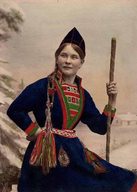 sami woman indigenous sweden wolf traditional way costume saami folk 1870 showcase ancient rare