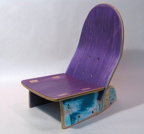 skateboard chair. would love to have this at my place...maybe I'll make one.