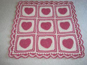 Вязаные Одеяло - Розовые и белые кружевные сердца с каймой для Валентина