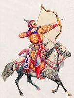 Íját feszítő magyar előkelő harcos szürke lovon, vágtában