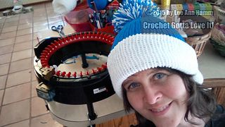 My first project made on the Addi Express King size knitting machine!! Yipee! I love this machine! OLOM-Colored Hat on the Addi Express King (46-needles) *OLOM stands for Our Lady of Mercy. It is the elementary school's colors at church: Our Lady of Mercy Blue Jays. :)