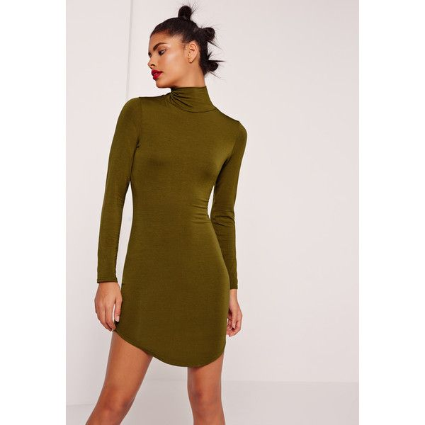 Missguided Curve Hem Roll Neck Bodycon Dress (£16) ❤ liked on Polyvore featuring dresses, khaki, body con dress, brown bodycon dress, roll neck dress, viscose dress and round hem dress