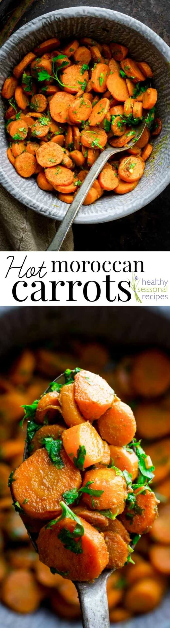 Hot Moroccan Carrots, with Cumin, Turmeric, Garlic and Lemon. Plus a ton of parsley. They are served hot right out of the skillet with a spicy kick from Harissa! By Healthy Seasonal Recipes /healthyseasonal/