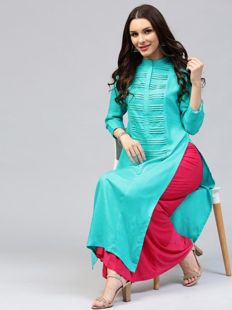 8bd17671ec Buy Libas Women Blue Solid Straight Kurta - Kurtas for Women | Myntra