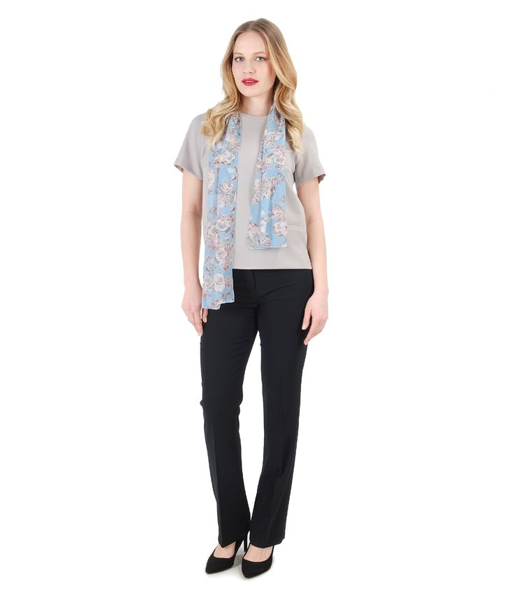 Simple & relaxed YOKKO | spring 17 #daytime #outift #casual #pastel #soft #pants #blouse #floral #scarf #yokko #fashion #style #woman