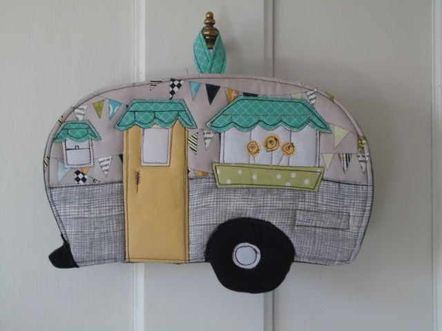 2012 Camping Potholder Series, Vintage Canned Ham Camper Trailer. $16.00, via Etsy.