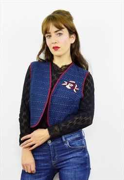 Vintage 90s navy blue embroidered waistcoat- PETITE SIZE
