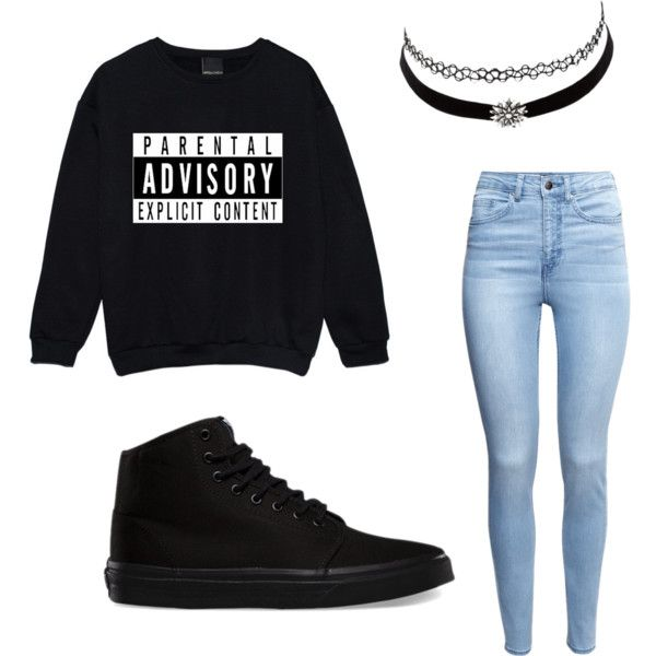 Parental Advisory Advised by shaydaniels547 on Polyvore featuring polyvore, fashion, style, H&M, Vans and Charlotte Russe