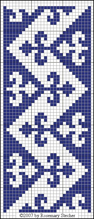 ZIGZAG BAND WITH FLEURS-DE-LYS - for Isabelle - Medieval Middle Eastern Cross Stitch Embroidery, graphed by Rosemary Stecher (Mathilde Eschenbach) Chart for Cross Stitch Embroidery Blue silk on linen. Greek stitch. Egypt, Mamluk period (14th century) Ellis, Marianne Embroideries and Samplers from Islamic Egypt. Oxford: Ashmolean Museum, 2001. #38 (p. 56).