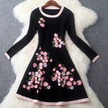 Vestidos bordados 2017 nova primavera tricô camisola da forma das mulheres de alta qualidade xl roupas winter dress casual manga comprida dress(China (Mainland))