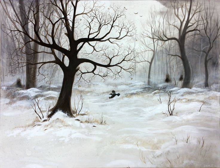 """""""Winter Meeting"""", acrylic on canvas by Lisbeth Thygesen  Art, winter, painting, nordic, scandinavian, snow, landscape, tree, trees, woods, woodland, forest"""