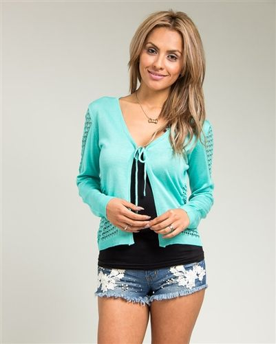 Mint Drawstring Knit Open Front Cardigan