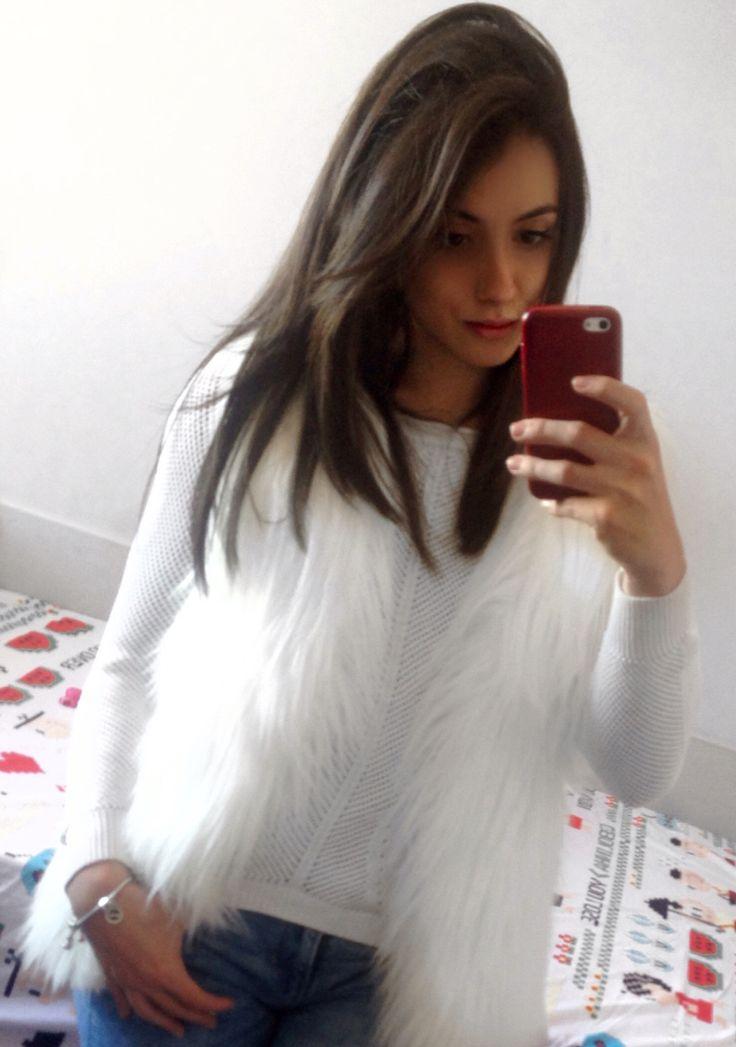 Colete de pelúcia, colete de pelo, branco,clean,inverno,Outfit.
