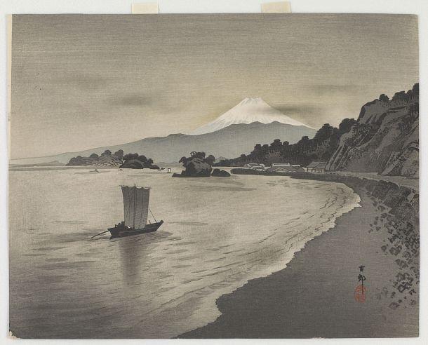 Evening scene with sail boats and Mount Fuji | Ohara Koson | Japan | Woodblock print | 1900s | Meiji era | Freer and Sackler | S2003.8.2034