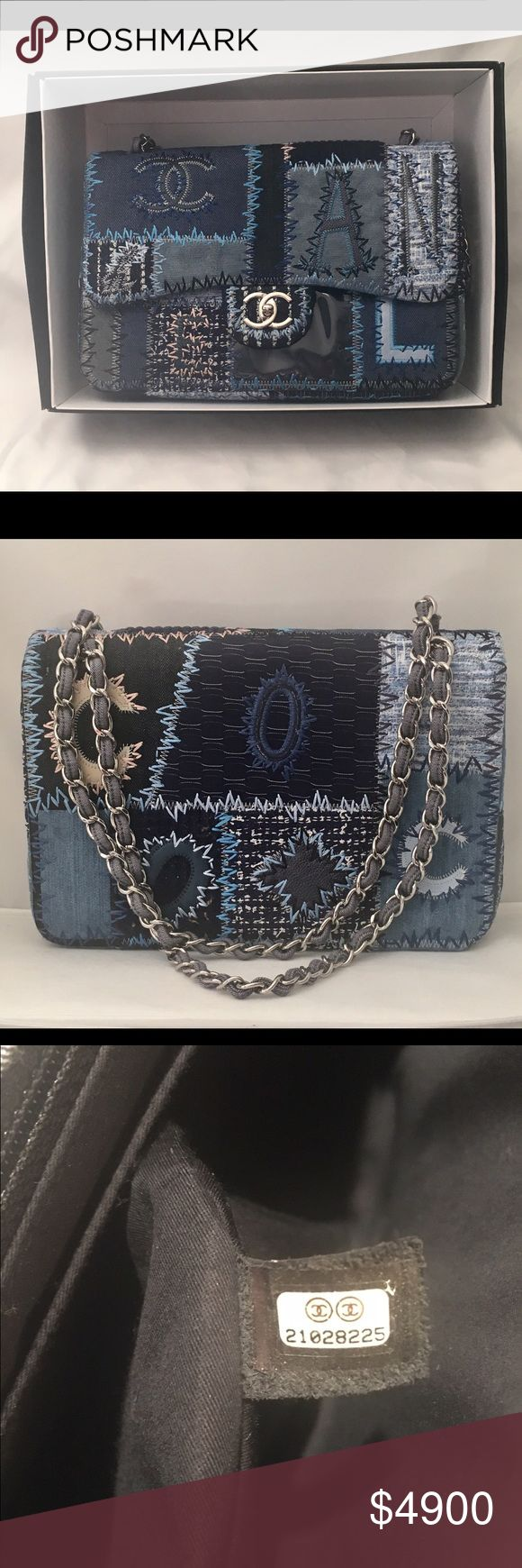 Authentic Chanel Patchwork Jumbo Flap Handbag Authentic Guaranteed. Chanel Jumbo Patchwork Handbag. Blue denim color. New in box. Comes with box, dustbag, authentic card. Beautiful bag. Fast shipping. Ask any questions. Thanks for looking. CHANEL Bags Shoulder Bags