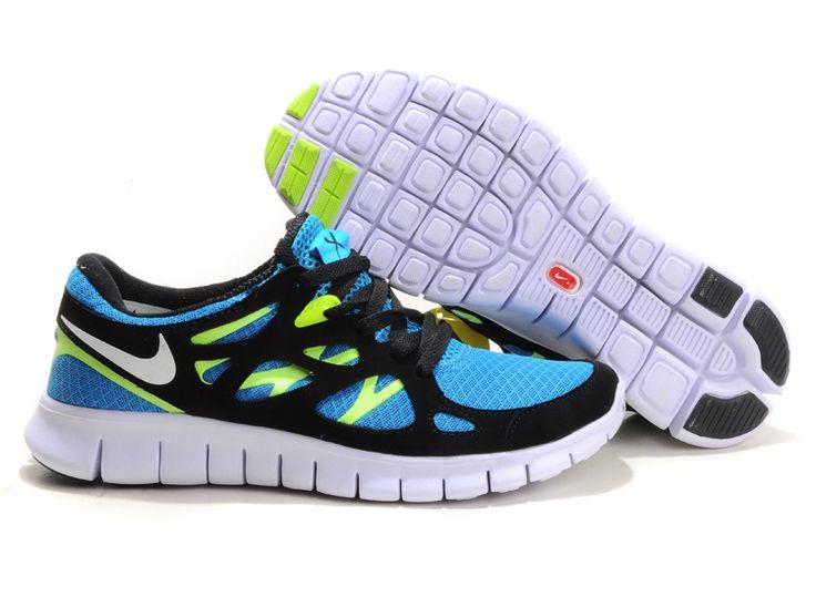 Womens Blue Glow White Black Volt Nike Free Run 2 Shoes #Sneakers