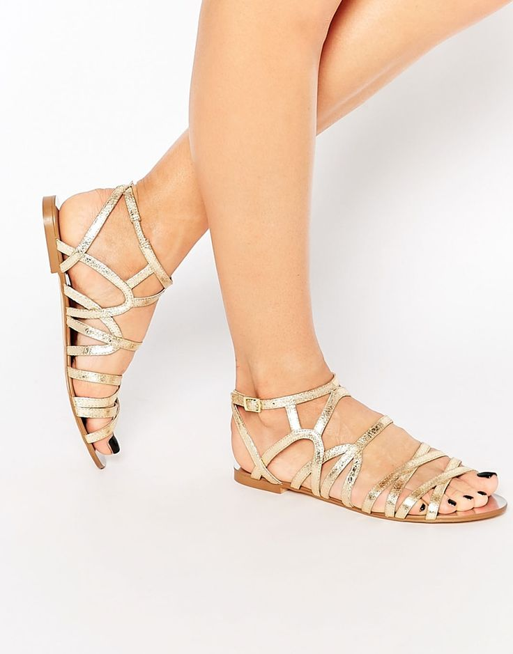 gold gladiator flat sandals
