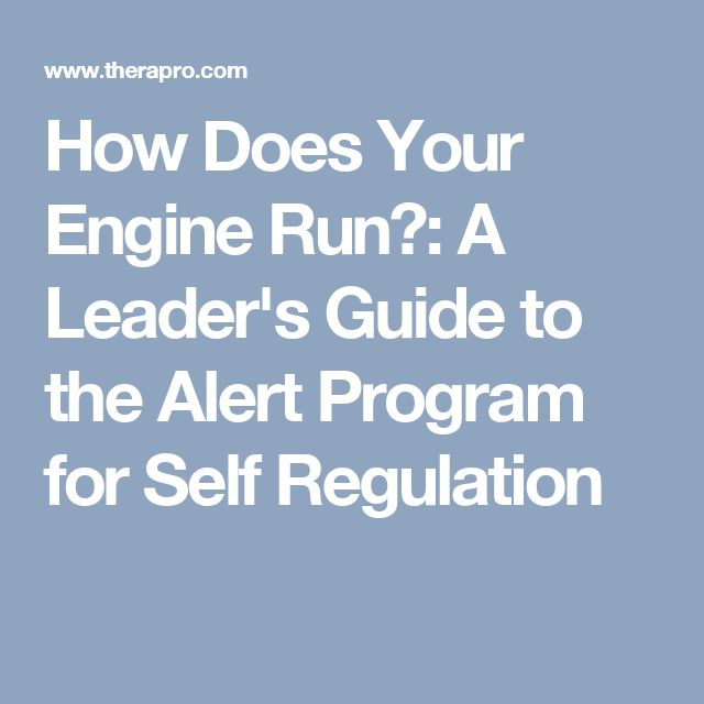 How Does Your Engine Run?: A Leader's Guide to the Alert Program for Self Regulation