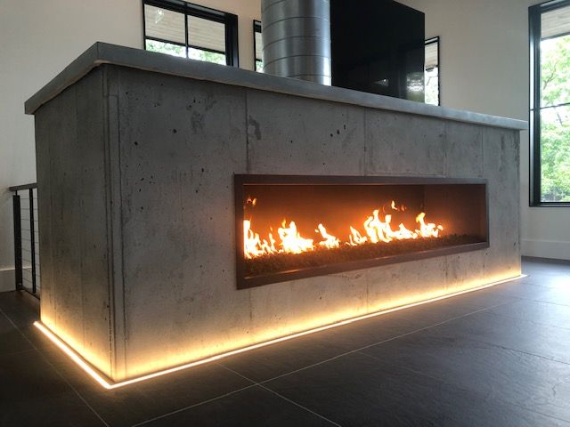 Acucraft Custom Designed And Manufactured This Unique Linear Gas Fireplace With Open Viewing Area And Exposed Flue Wit In 2020 Custom Fireplace Gas Fireplace Fireplace