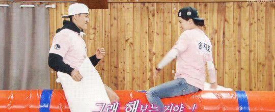 Song Ji Hyo and Kim Jong Kook, Running Man ep. 301. © on pic