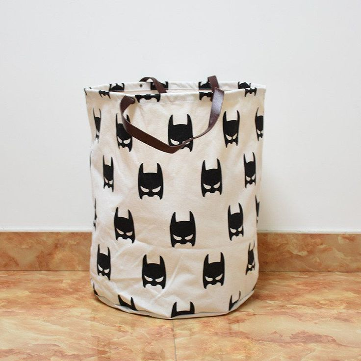 Batman Canvas Storage Bin with Leather Handles | Batman kids room storage | kids room decor | superhero room ideas