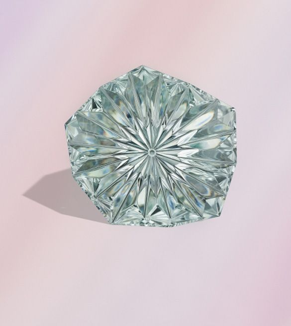 """""""Starlight-cut"""" 47.0 ct. green Beryl by Dalan Hargrave awarded 3 rd place in the Cutting Edge Cobination Category of the 2010 Agta Spectrum Awards"""