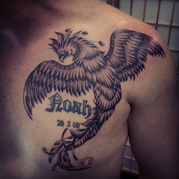 Phoenix Tattoo on Chest for Men | Cool Tattoo Designs