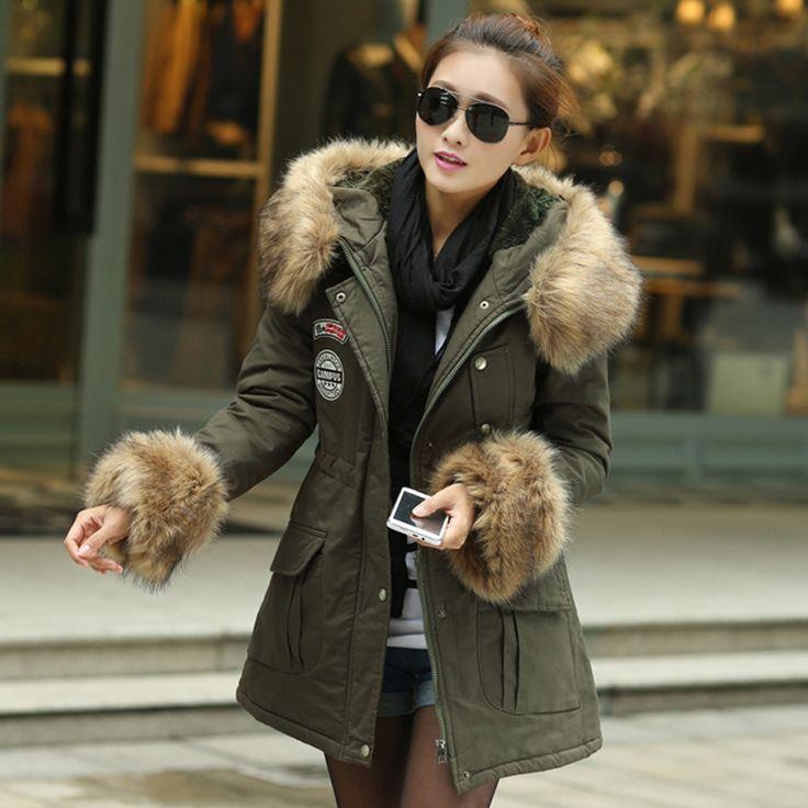Пальто длинная капюшон, зима леди хлопок мягкий талия приталенный женщин толстый тёплый роскошь мех воротник хаки / армейский зеленый H1586