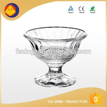 Online shop wholesale short stem embossed round glass ice cream storage packaging containers