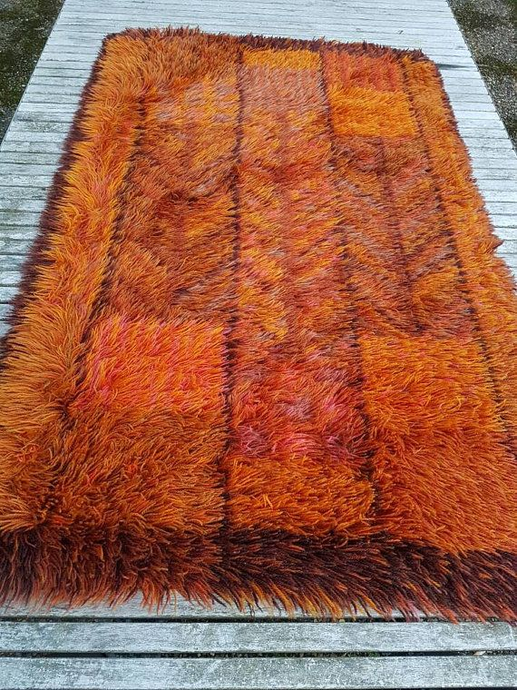 Modernist Vintage Wool Rya Rug. Kings Rya By Scandinavianseance