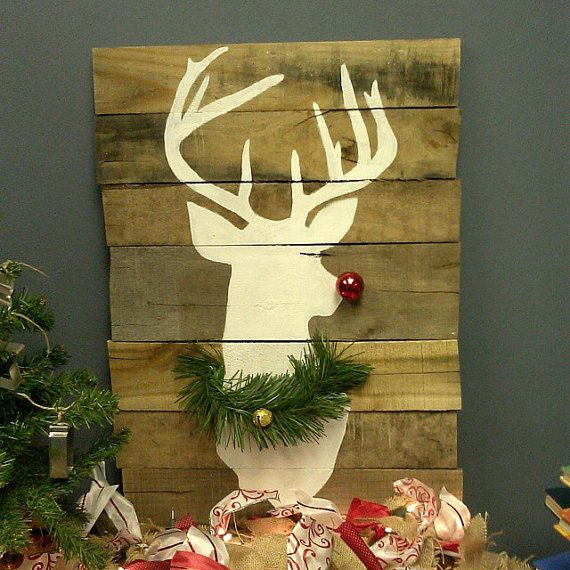 Rudolph Pallet Art by YDoodleDesigns on Etsy, $45.00