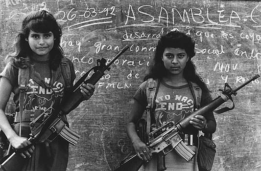 Teenagers with guns near the Guerrilla FLMN camp in San Antonio Los Ranchos, El Salvador, 1992, El Salvador: Girls, Guns, Fmln Guerrilla, Antonio Los, El Salvador, Civil War, San Antonio, Guerrilla Flmn, Flmn Camps