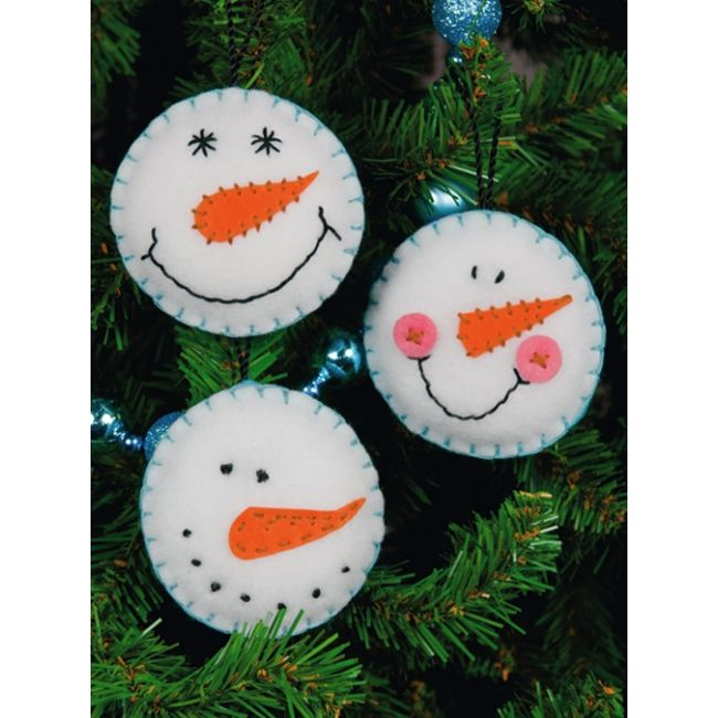 Christmas Felt Craft Ideas Part - 25: Happy Felt Snowman Ornaments