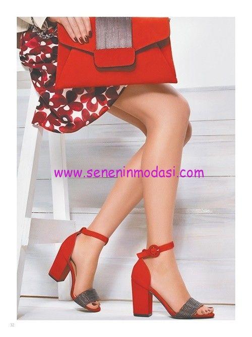 Derimod kırmızı kalın topuklu ayakkabı