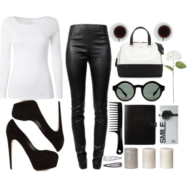 """yes again black and white ........."" by laizapoli on Polyvore"