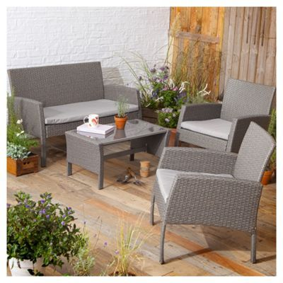 buy tesco san marino 4 piece rattan garden lounge set grey from our rattan garden