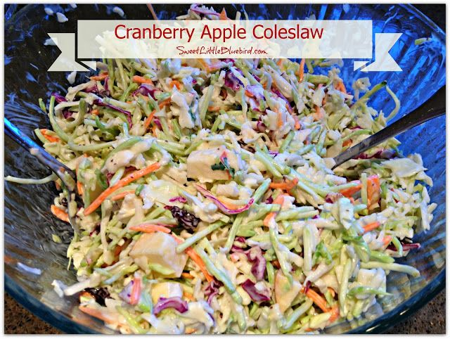 Cranberry Apple Coleslaw: I love mixing up a coleslaw with nuts, raisins, or other fruits... this one sounds heavenly