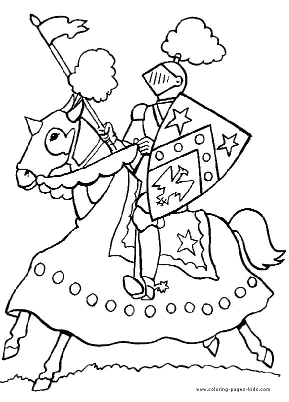Charging knight color page fantasy medieval coloring pages, color plate, coloring sheet,printable coloring picture