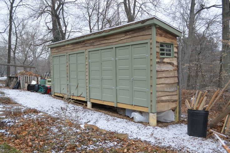Suncast Storage Shed Garage and Shed Eclectic with Fallen Logs Gardening Shed Green Trim Live Edge Log Shed Outdoor Storage