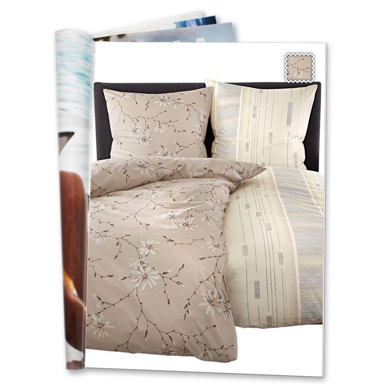 Bettwäschegarnitur, florales Muster, reine Baumwolle