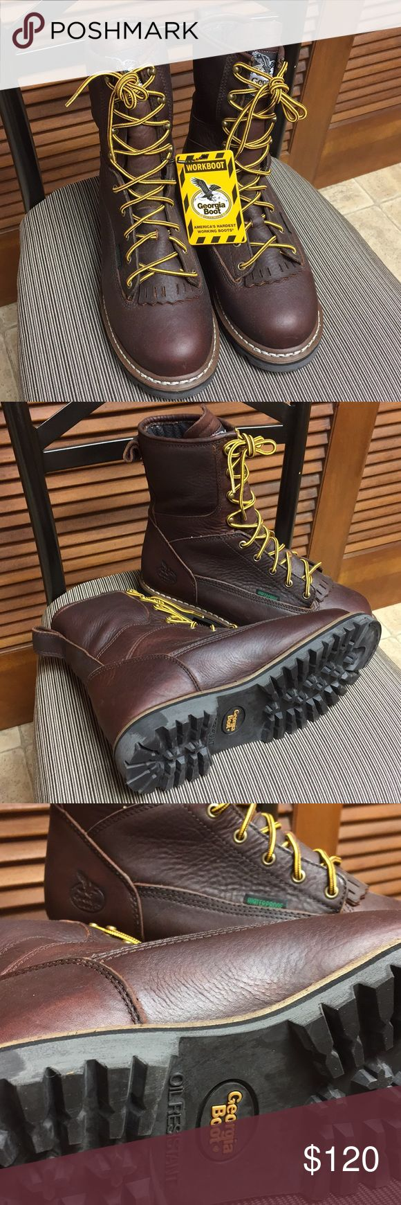 Georgia Boot waterproof Logger Boots NWT Georgia Boots, size 9.5W, leather low heel waterproof logger boots, they have oil resistant soles, never worn. See Georgia Boot.com listed for $180. Hard working shoes, will NOT have original box. Georgia Boots Shoes Boots